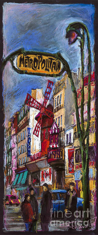 Cityscape Art Print featuring the painting Paris Mulen Rouge by Yuriy Shevchuk
