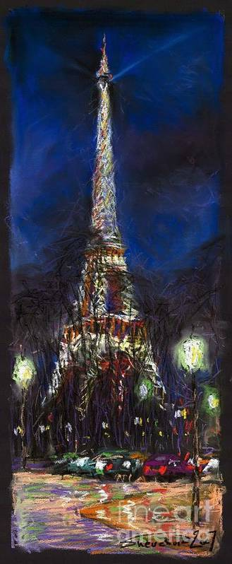 Pastel Art Print featuring the painting Paris Tour Eiffel by Yuriy Shevchuk