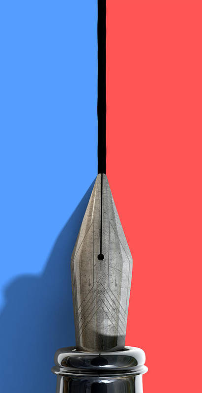 Pen Print featuring the digital art Drawing The Line by Allan Swart