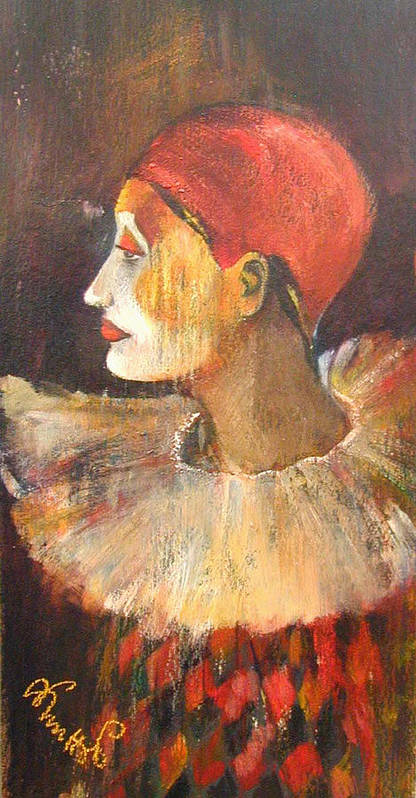 Alicja Knitter Coe Paintings Art Print featuring the painting Arlequin In A Red Hat by Alicja Coe