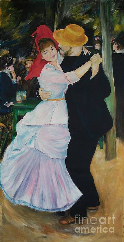 Impressionism Art Print featuring the painting Dance At Bougival Renoir by Eric Schiabor