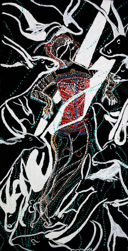 Jesus Art Print featuring the painting Dinka Dance by Gloria Ssali
