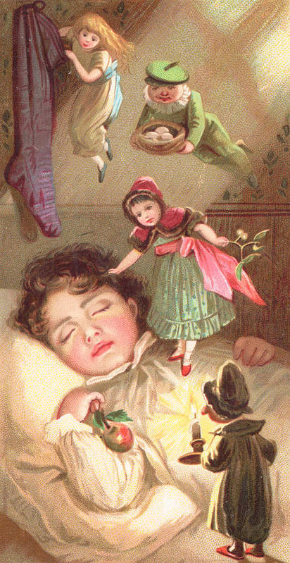 Greetings Art Print featuring the painting Elves Delivering Christmas Gifts by English School