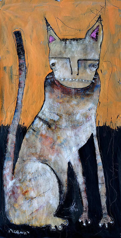 Acrylic Art Print featuring the painting Feles by Mark M Mellon