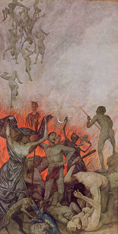 The Damned Art Print featuring the painting Hell by Hans Thoma