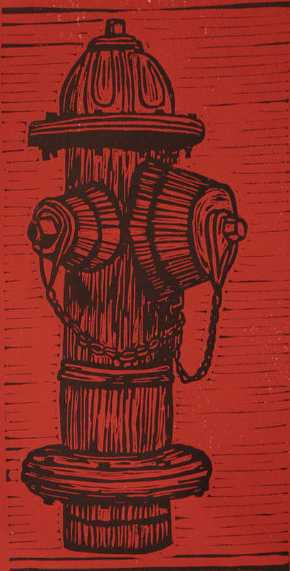 Hydrant Print featuring the drawing Hydrant by William Cauthern