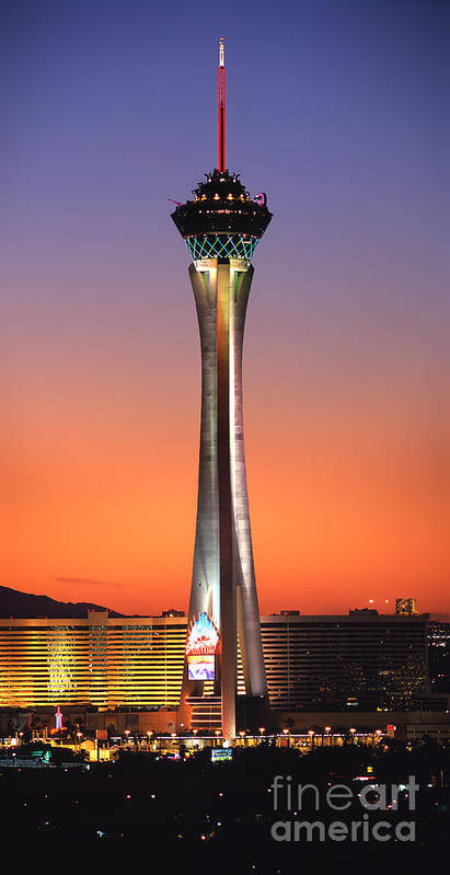 The Stratosphere Art Print featuring the photograph The Stratosphere Tower In Las Vegas by Wernher Krutein
