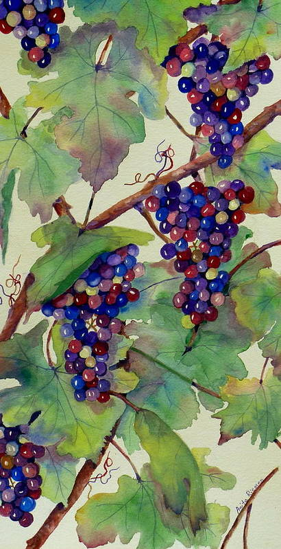 Grapes Art Print featuring the painting Grapes V by Anita Riemen