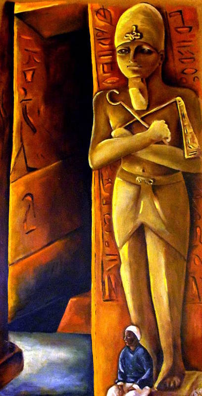 Pharaoh Art Print featuring the painting Guardian Of The Tomb by Carmen Cordova