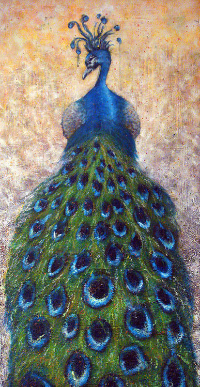 Peacocks Art Print featuring the painting At The Gates by Mark M Mellon