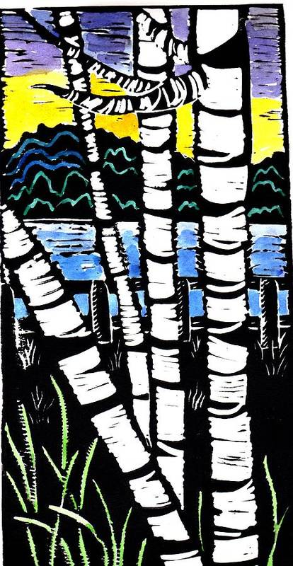 Birch Tree Art Print featuring the painting Birch Lake by Jane Croteau