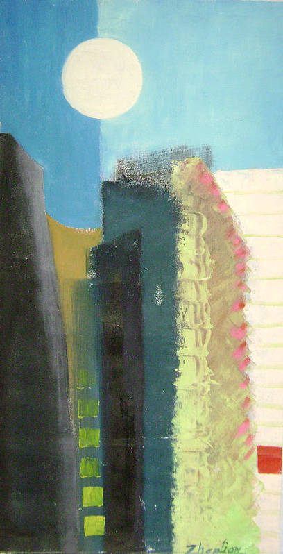 Abstract Art Print featuring the painting Dream City No.2 by Lian Zhen