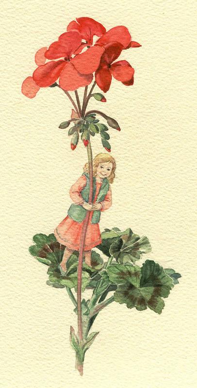 Flower Art Print featuring the painting Geranium Girl by Maureen Carter