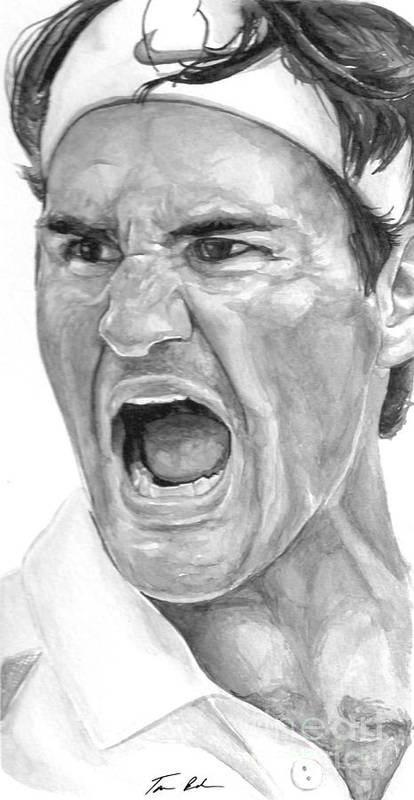 Federer Art Print featuring the painting Intensity Federer by Tamir Barkan
