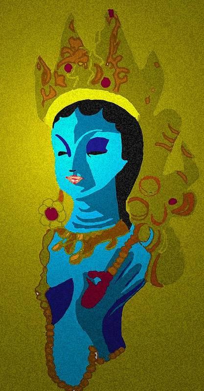 Hindu Goddess Art Print featuring the drawing Lakashimi Gold by Jennifer Ott