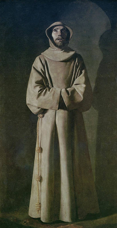 Francis Art Print featuring the painting Saint Francis by Francisco de Zurbaran