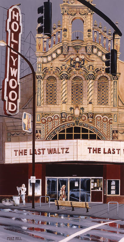 Theatre Theater Hollywood Movies Portland Oregon Deco Spanish Tile Lights Cinema Watercolor  Art Print featuring the painting The Last Waltz by Mike Hill