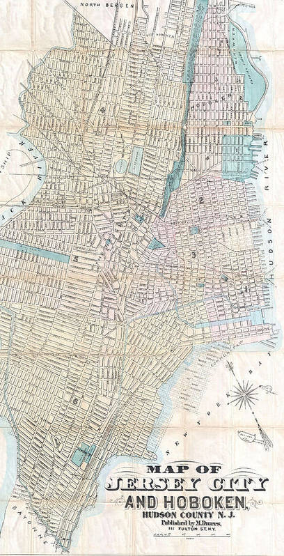 Jersey City Art Print featuring the drawing Vintage Map Of Jersey City And Hoboken by CartographyAssociates