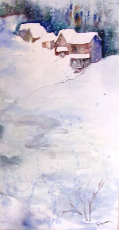Art Print featuring the painting Winter Hideaway by Sandi Stonebraker