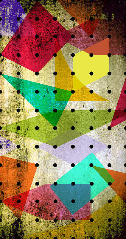 Contemporary Art Print featuring the painting Geometric In Colors by Mark Ashkenazi
