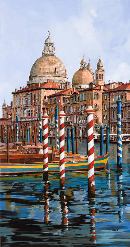 Venice Art Print featuring the painting La Chiesa Della Salute Sul Canal Grande by Guido Borelli