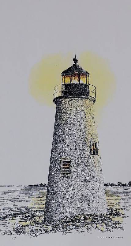 New England Lighthouse Seascape Landscape Pen & Ink Watercolor Coastline Connecticut Art Print featuring the painting Light On The Sound by Tony Ruggiero