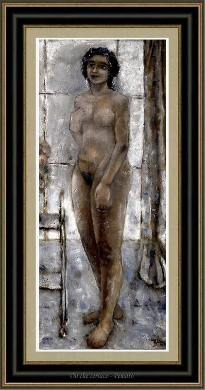 Nude Art Print featuring the painting On The Terrace by Pemaro