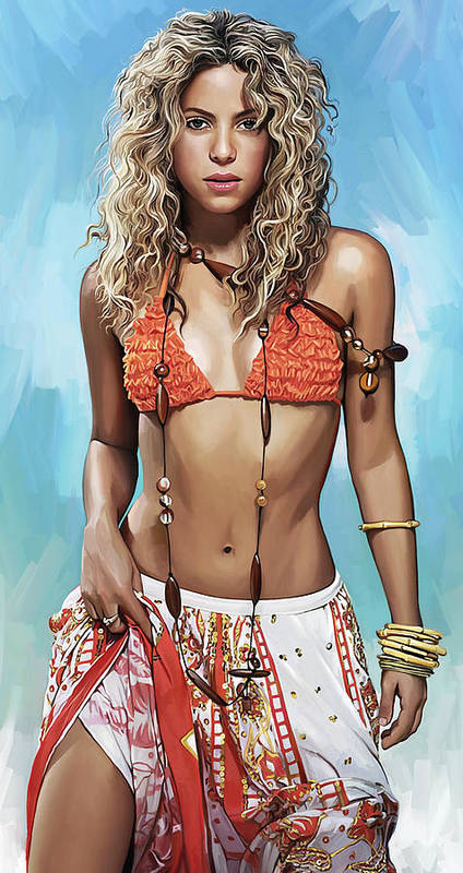 Shakira Paintings Art Print featuring the painting Shakira Artwork by Sheraz A
