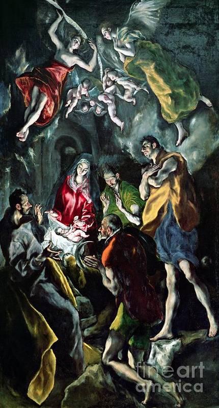 Putti; Angels; Self Portrait; Adoration Des Bergers; Nativity; Infant Christ; Jesus; Virgin Mary; Madonna; Joseph; Shepherd Art Print featuring the painting The Adoration Of The Shepherds From The Santo Domingo El Antiguo Altarpiece by El Greco Domenico Theotocopuli