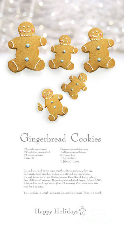 Background Art Print featuring the photograph Gingerbread Men Cookies Against Cookie Receipe by Sandra Cunningham