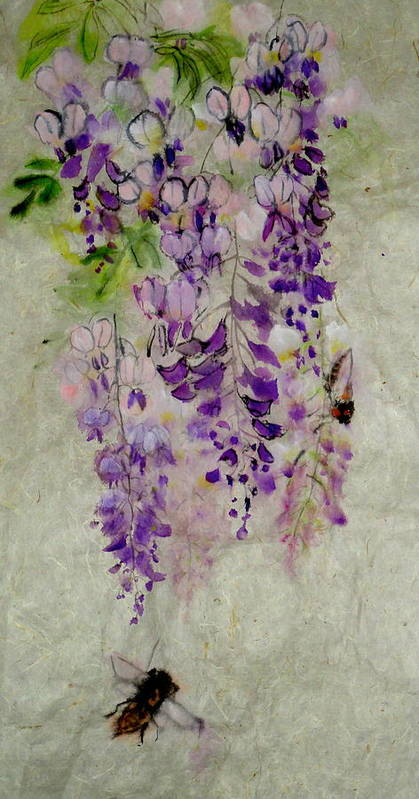 2012. Botanical. Flower. Wisteria.bugs. Cicada. Art Print featuring the painting Wisteria Oh Wisteria by Debbi Saccomanno Chan