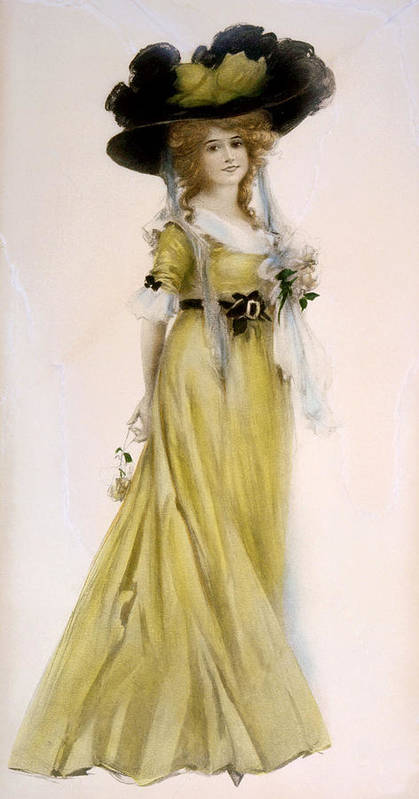 4fbe0938835 Woman In Victorian Dress And Large Hat Art Print