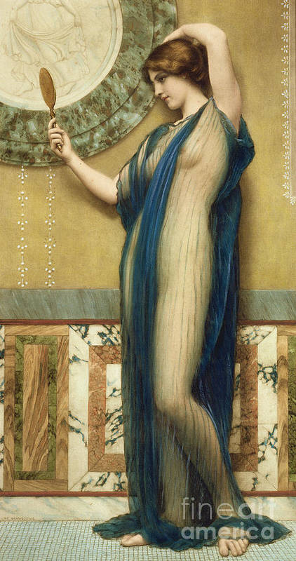 A Fair Reflection (hand Colored Photo-engraving) By John William Godward (1861-1922) (after) Mirror; Marble; Nude; Looking Glass; Female; Classical; Vain Art Print featuring the painting A Fair Reflection by John William Godward
