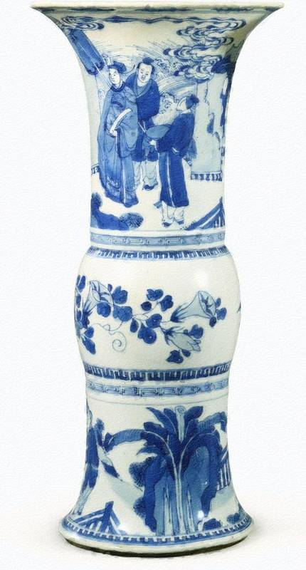 Blue Chinese Chinoiserie Pottery Vase No 3blue & White Chinese Porcelain Around The World Art Print featuring the painting Blue Chinese Chinoiserie Pottery Vase No 3 by Celestial Images