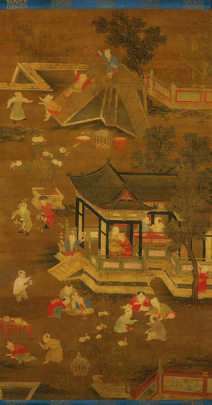 Painting Art Print featuring the painting Children Playing In The Palace Garden by Mountain Dreams