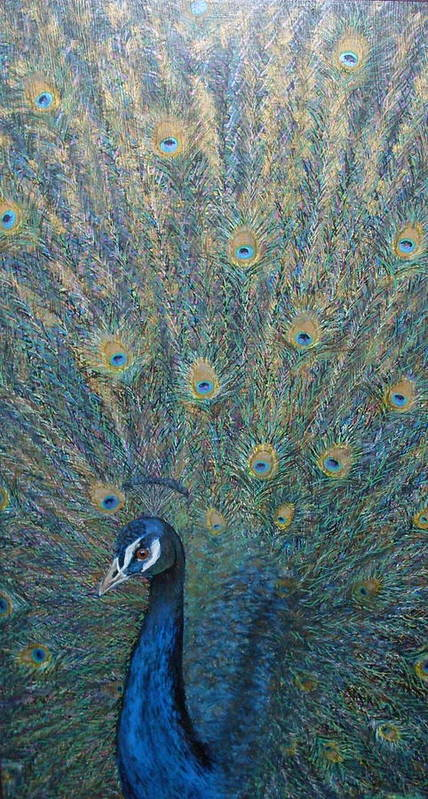 Nature Bird Peacock Art Print featuring the painting Cocky by Sally Van Driest