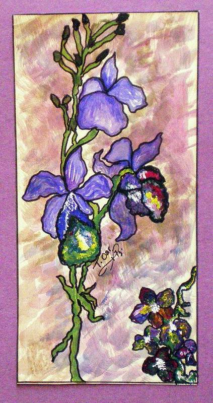 Flower Flowers Cool Art Print featuring the painting Cool Flower Study by Tammera Malicki-Wong
