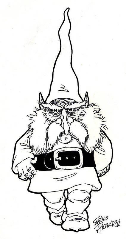 Gnome Art Print featuring the drawing Gnome by Paulo Ricardo Almeida
