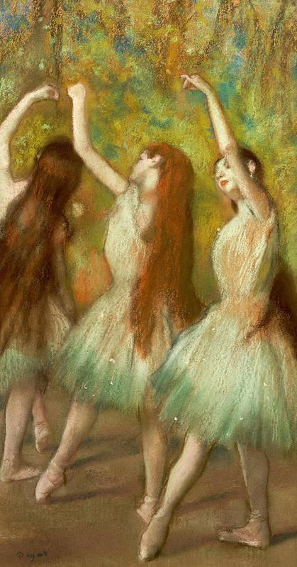 Green Dancers Art Print featuring the pastel Green Dancers by Edgar Degas