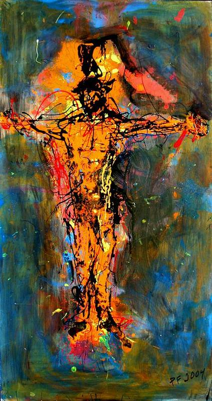 Figurative Art Print featuring the painting Man On A Cross by Paul Freidin