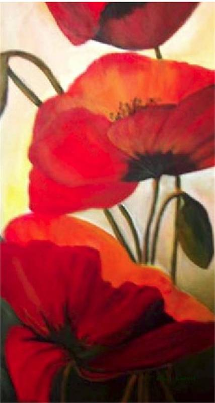 Floral Art Print featuring the painting Red Poppies by Eileen Kasprick