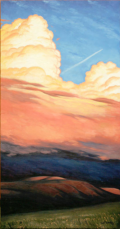 Landscape Art Print featuring the painting Storm Clouds And Sunsets by Erik Schutzman