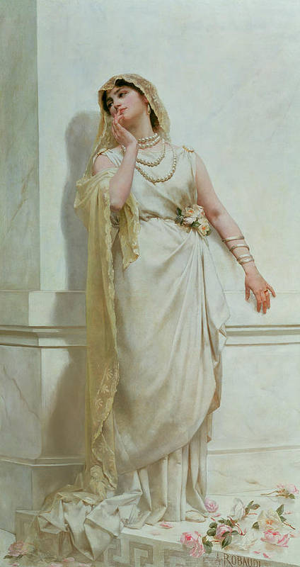 The Art Print featuring the painting The Young Bride by Alcide Theophile Robaudi