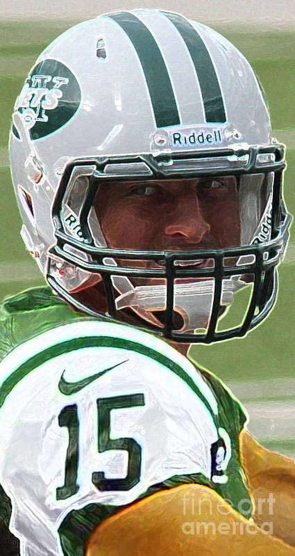 Lee Dos Santos Art Print featuring the photograph Tim Tebow Art Deco - New York Jets - by Lee Dos Santos