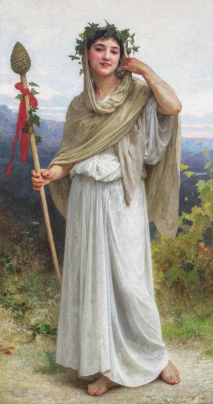 William Art Print featuring the painting Priestess Of Bacchus, 1894 by William-Adolphe Bouguereau