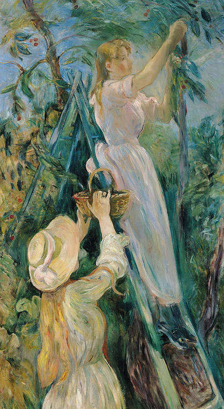 Impressionist; Ladder; Basket; Picking; Cherries; Fruit Tree; Girl; Female; Hat; Friend Art Print featuring the painting The Cherry Picker by Berthe Morisot