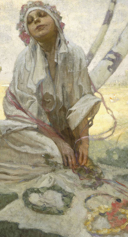 Bohemian; Sun; Dreamer; Bather; Dreaming; Female; Woman; Portrait; Girl; Ethereal; Dress; Costume; Headdress; Floral; Reverie; Relaxed; Relaxing; Relaxation; Happy; Sublime; Rural; Seated; Landscape; Pasture; Summer; Sunshine; Idyllic; Dream; Golden; Light; Meditation; Meditative; Trance; Happy; Happiness; Content; Contentment; Fantasy; Femme; Fatale; Art; Nouveau; Dream; Golden; Light; Meditation; Meditative; Trance; Happy; Happiness; Content; Contentment; Fantasy; Femme; Fatale; Art; Nouveau Art Print featuring the painting Bohemian Sun Dreamer by Alphonse Marie Mucha