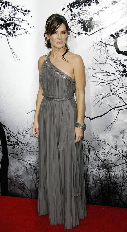 Premonition World Premiere Art Print featuring the photograph Sandra Bullock Wearing A Lanvin Dress by Everett