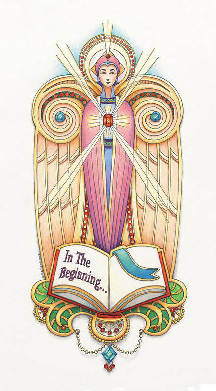 Colored Pencil Art Print featuring the drawing Scroll Angel - Ionica by Amy S Turner