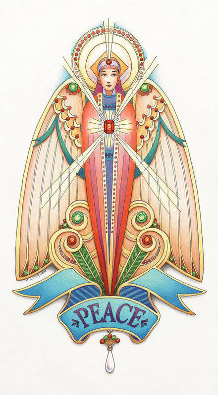 Colored Pencil Art Print featuring the drawing Scroll Angels - Pax by Amy S Turner